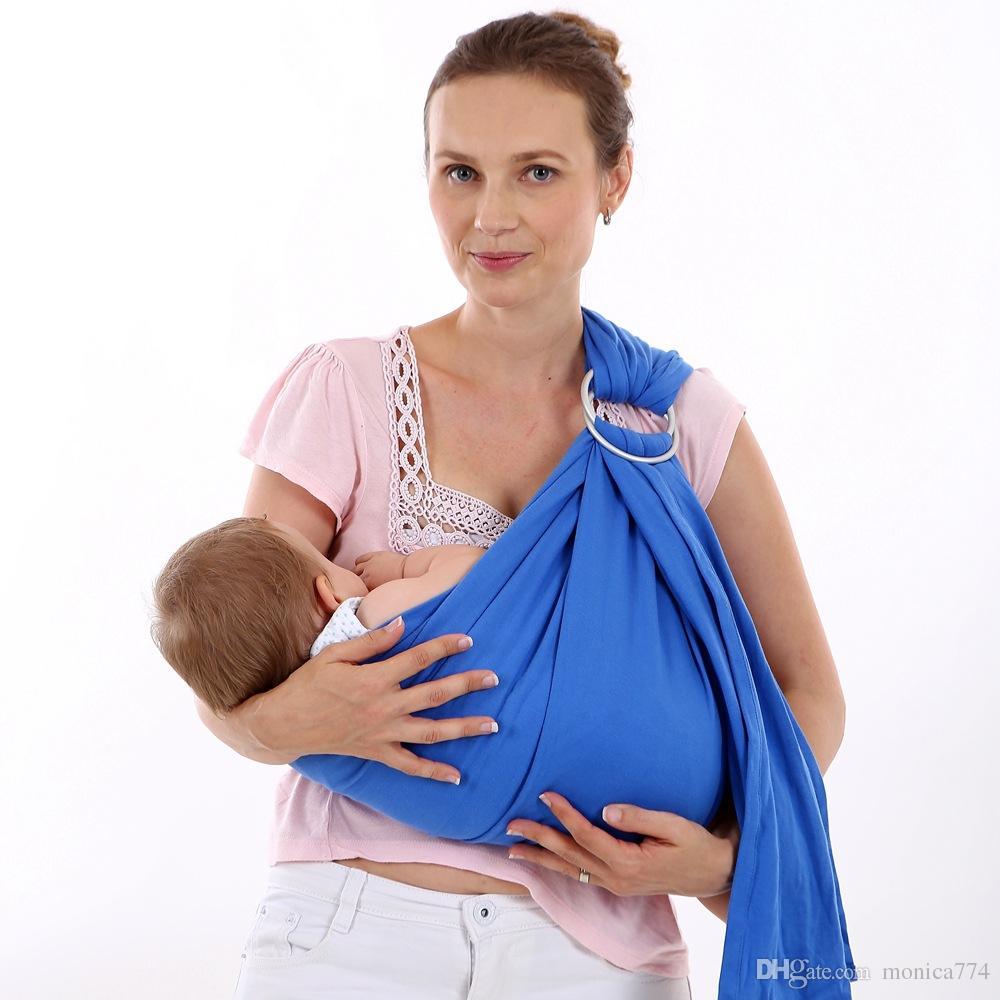 100% Pamuk Ön Arka Bebek Taşıyıcı Bebek Sırt Çantası Sling Metal Halka Konfor Renkli Bebek Taşıyıcıları ile Yenidoğan Yatay Sling