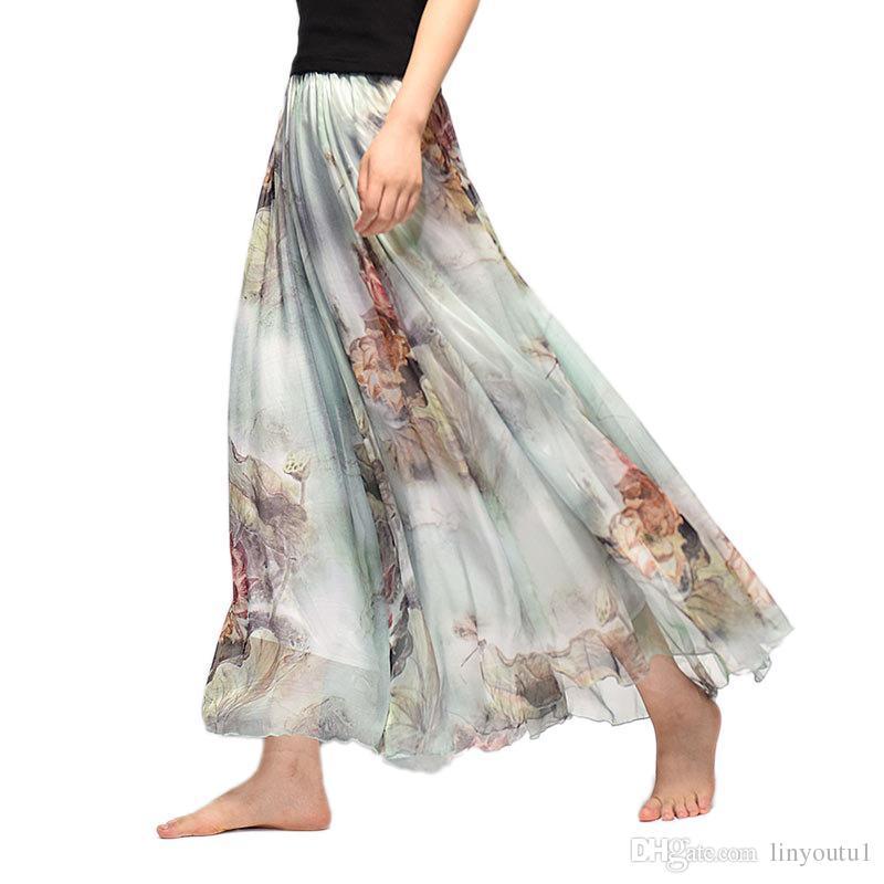 eb057b8fc Elegante Verano 2018 Mujeres Falda Larga de Gasa Saia Beach Bohemia Maxi  Faldas de Cintura Alta Tutú Casual Vestidos Harajuku Imprimir