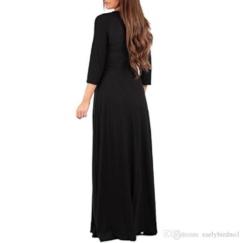 2018 New Günstige Schwangere Langarm Abendkleid Frauen Lange Mutterschaft Kleid Kleid Sommer Requisiten Maxi Casual Dress Cocktail MC1695