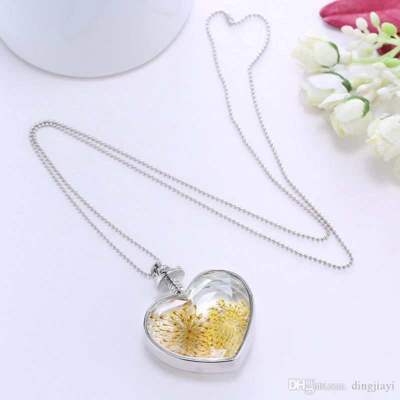 أزياء الفضة مطلي سلاسل طويلة الزجاج المنجد قلادة القلائد للنساء هدية المجوهرات الطبيعة الأصفر الجاف زهرة قلادة