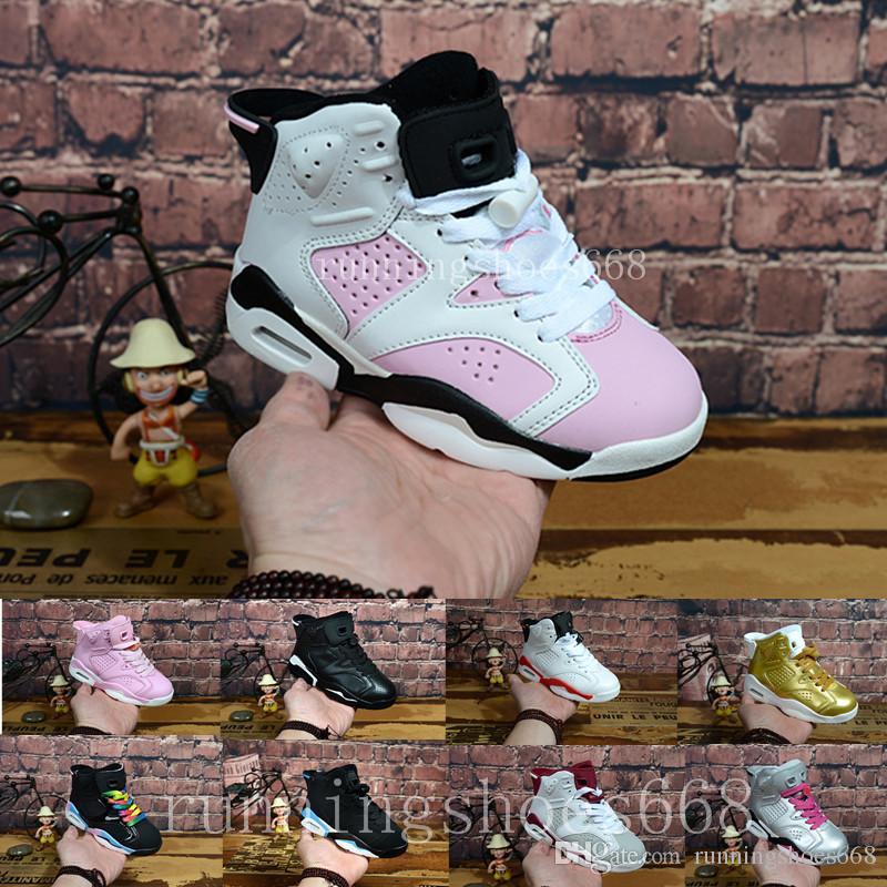 new arrival 7b6c6 47caa Großhandel Nike Air Jordan 6 Aj6 Retro Großhandelsneuen Rabatt Kinder 6  Baby Basketball Schuhe Unc Gold Schwarz Rot Kid 6s Jungen Turnschuhe Kinder  Sport ...