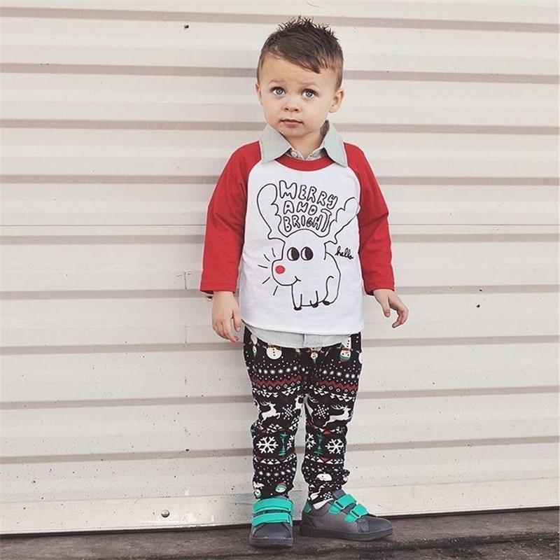 276d909acb08f0 Acheter 0 3ans Nouveau Né Enfant En Bas Âge Bébé Garçon Fille Vêtements De  Noël Chemises De Noël Tops + Pantalon Leggings Imprimer Tenue Chaud  Vêtements ...