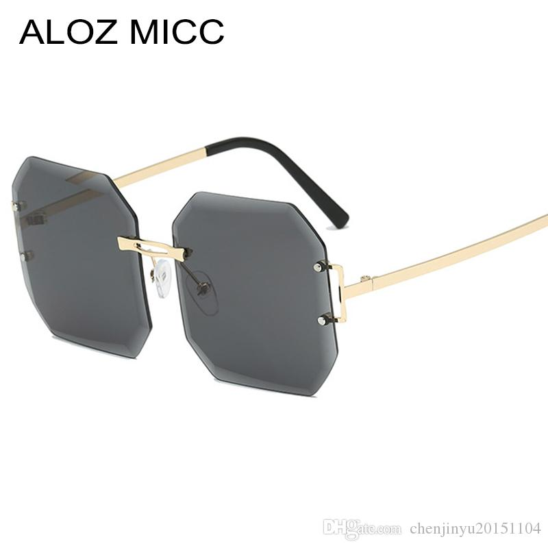 118509ce44f07 Compre ALOZ MICC Nova Moda Sem Aro Óculos De Sol Das Mulheres Dos Homens De  Design Da Marca Quadrado Óculos De Sol Feminino Preto Preto Tons A618 De ...