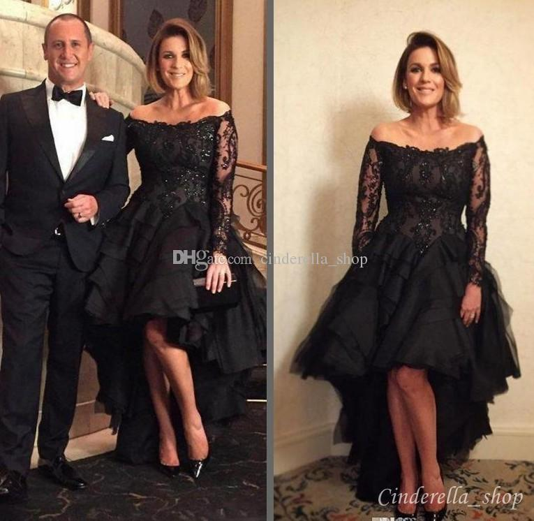 2018 Black Hi-Lo Lace Evening Dresses Long Sleeves Bateau Cascading Ruffles Sequins Illusion Bodice Short Formal Prom Red Carpet Gowns