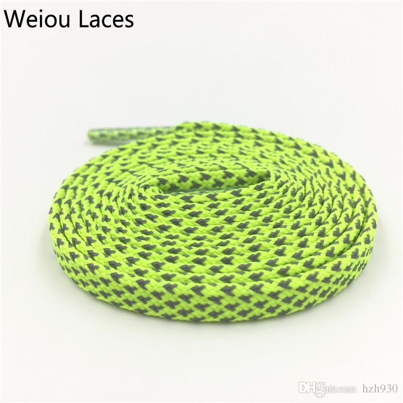 Weiou Multi Colored Fashion Shining 3M reflective Flat Brightly Shoelace Glow in the Dark Shoe Strings For Sneaker Women Men Shoes 120cm