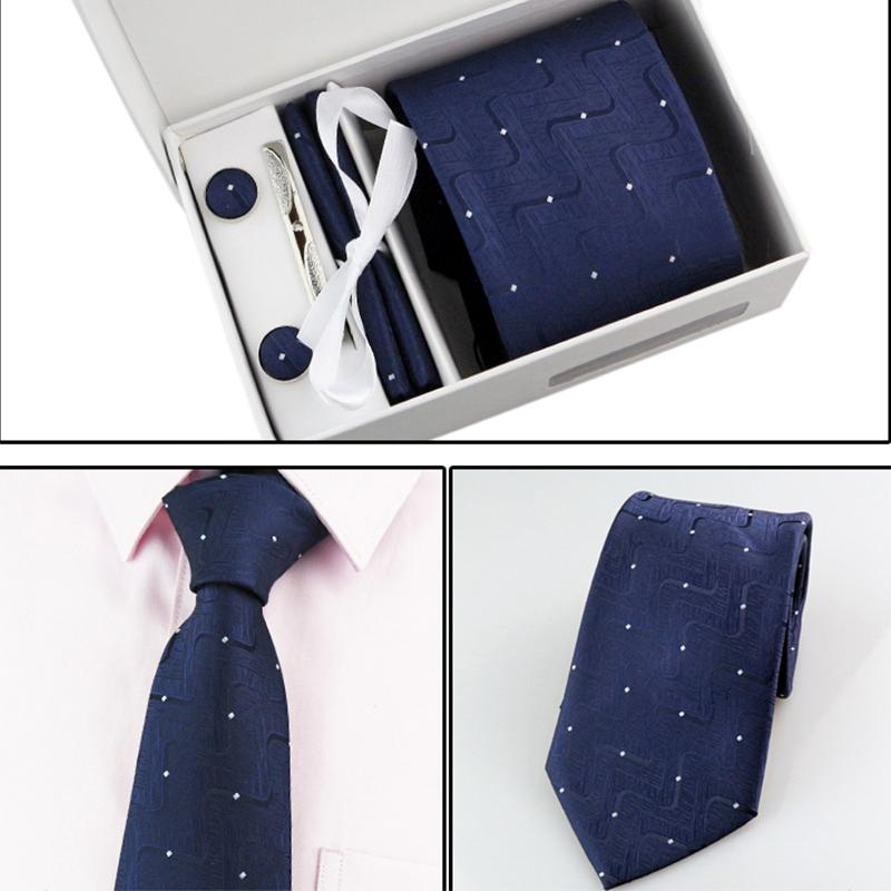 af0fbdb3ef5f3 2019 New Style 8CM Ties For Men Plaid Polka Dot Necktie Set Cufflink Pocket  Square Handkerchief Hanky Suit Set Formal Business Tie From  Chongyangclothes009, ...