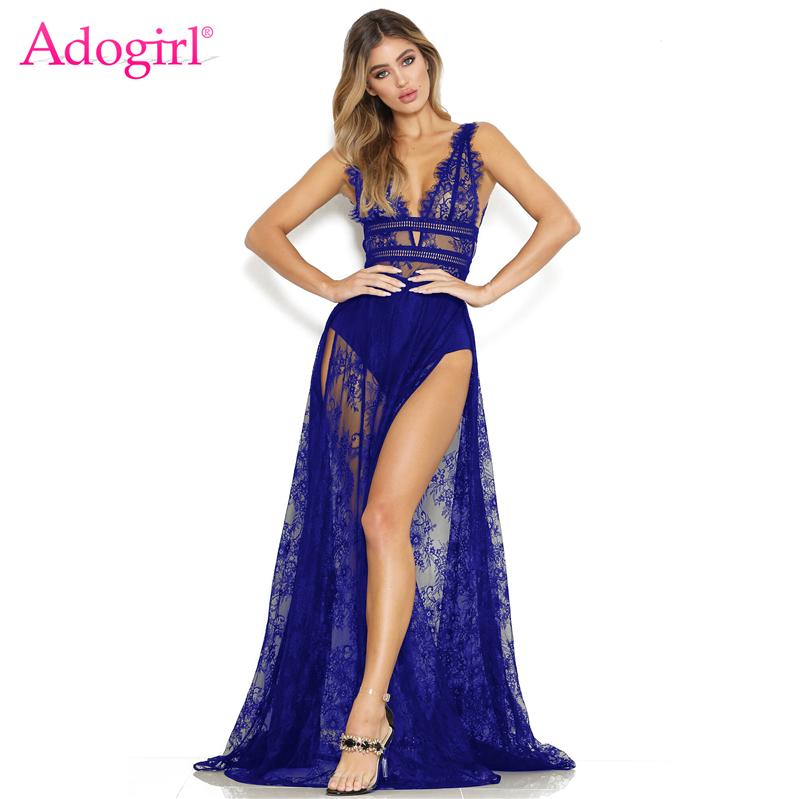 f68ce85bc7b7 Adogirl Eyelash Sheer Lace Maxi Club Party Dress Women Sexy Plunge V Neck  Sleeveless Open Back