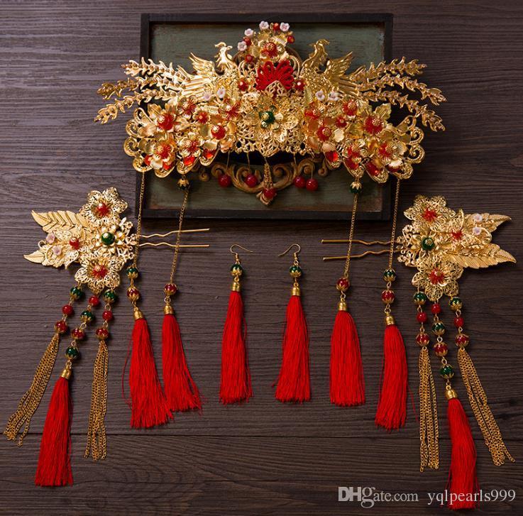 Çin Kırmızı Elbise Kostüm headdress süsler düğün aksesuarları