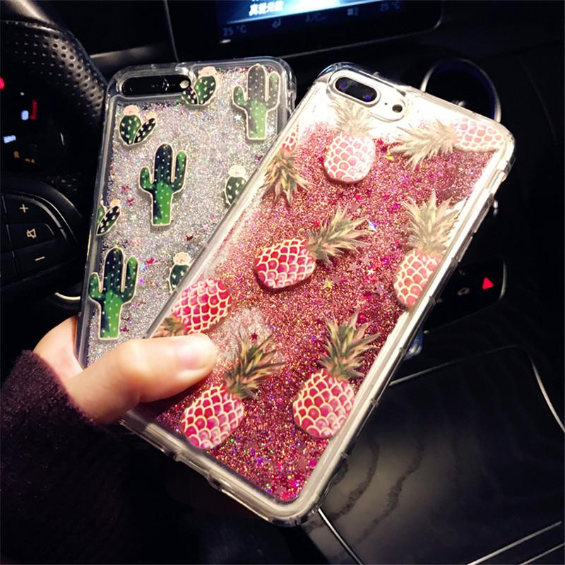 Bling Glitter Dynamic Cactus Pineapple Liquid Quicksand Phone Back For IPhone  6 6 S 7 Case For IPhone 7 8 X 6S Plus Capa Cute Cell Phone Cases Cell Phone  ... 8f34d1ac4e84