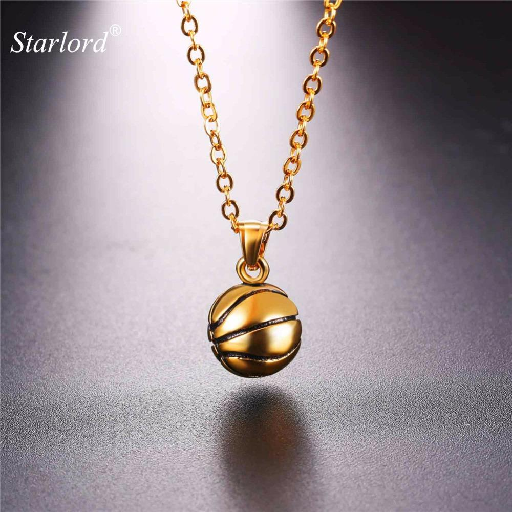 Starlord New Basketball Pendants Necklace Ball Enamel Jewelry Sports Fashion Gold Color Stainless Steel Chain Men Bijoux GP2558