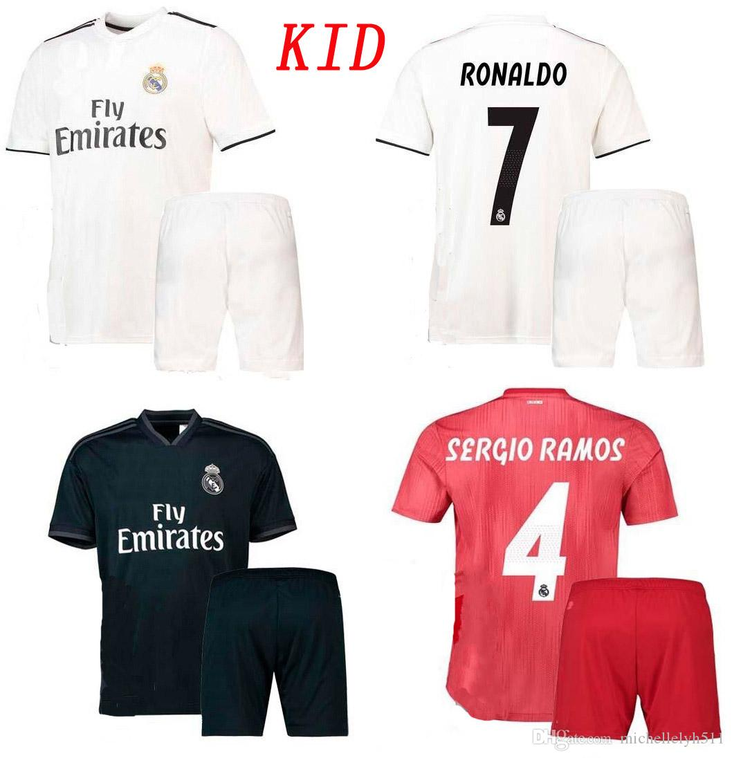 3cc920553 18 19 Real Madrid Kid s Soccer Kits Home Away Third Football Shirts ...