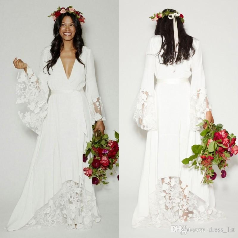 82f86ded0781 Discount Elegant Bohemian Wedding Dresses Sexy Plunging V Neck A Line Bell  Long Sleeves Pretty Lace And Chiffon Bridal Country Boho Wedding Gowns  Cheap ...