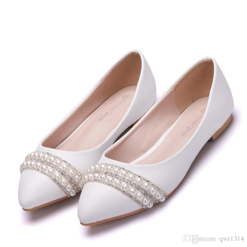 62b887c2a868f New Fashion Suitable Women Flats White Pearls Pointed Toe Beading Flat  Crystal wedding shoes Plus Size