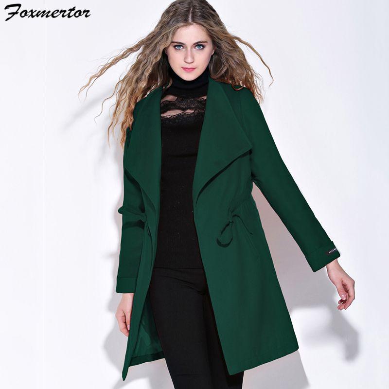 7c2274347 High Street Winter Coat Women Woolen Long Sleeve Medium-Long Belt Coat Warm  Wool Blends Slim Dark green Female Overcoat Cashmere
