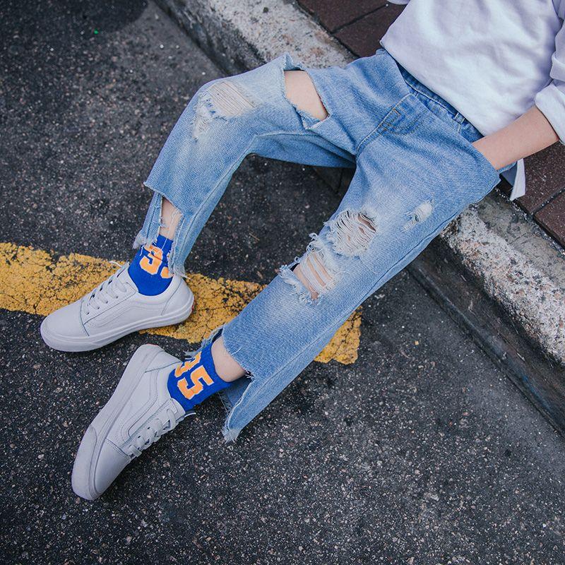 2018 весной и осенью новый корейский волна мальчик джинсы детей брюки мальчиков отверстие джинсы
