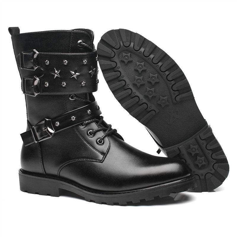 87a111a79bb8 Acquista ERRFC Personalized Men Martin Boots Rivetti Di Lusso Buckle Punk  Stivali Da Moto Uomo Moda Mid Calf Tendenza Il Tempo Libero Scarpe A $89.77  Dal ...