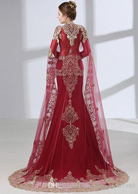 Trendy Lace Red Satin Mermaid Evening Dresses With Wrap African Arabic Dubai 2018 Long Sleeve Party Prom Dresses Gowns Formal Robe De Soiree