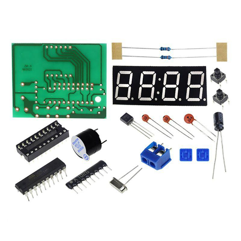 DIY Kit Compact 4-digit Digital Clock Microcontroller Time Display DIY LED  Electronic Production Kit Parts Clock