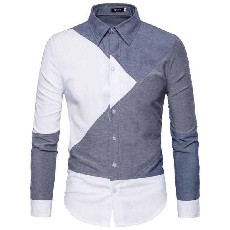 Compre New Mens Moda Casual Costura Camisa De Manga Longa Camisa Social  Slim Fit Camisas Masculinas De Dreamcloth d8fb65cc55e
