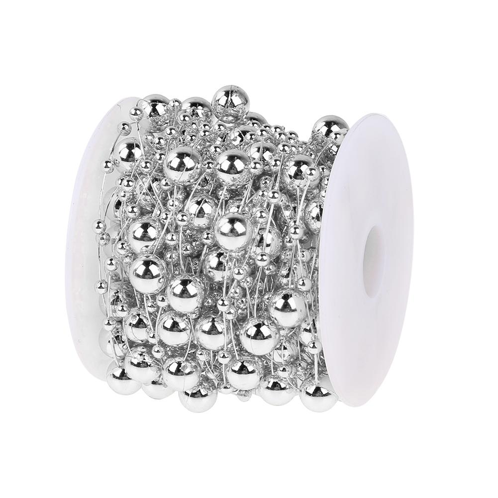 10M/roll 8mm+3mm Artificial Plating Beads Chain Christmas Tree Decoration Bridal Bouquet Flower Wedding Decoration