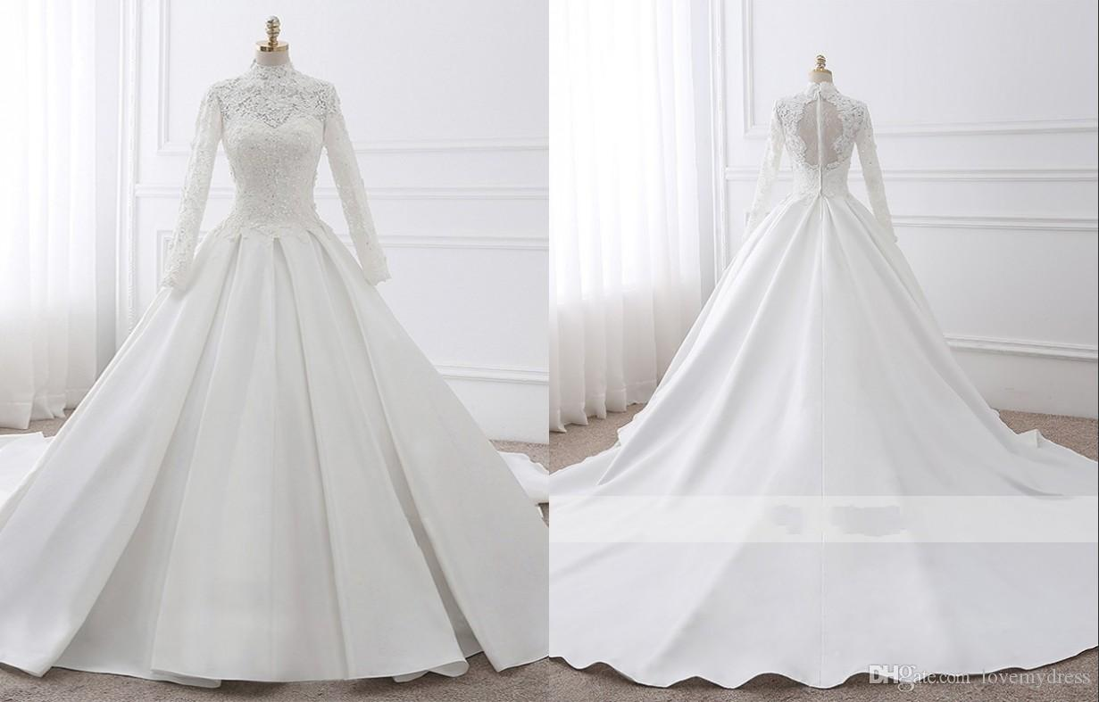 146bea2fd68 Vintage Lace Ball Gown Wedding Dresses High Neck With Long Sleeves Applique Satin  Chapel Train Cheap Wedding Bridal Gowns New Real Photo Couture Dresses ...