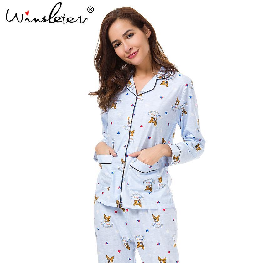1b93538ab New 2018 Pajama Sets Women Cute Corgi Print French Bulldog Set Long Sleeve  Elastic Waist Cotton Lounge Pijamas S78801 S1015 Lingerie Usa Luxury Pajamas  From ...