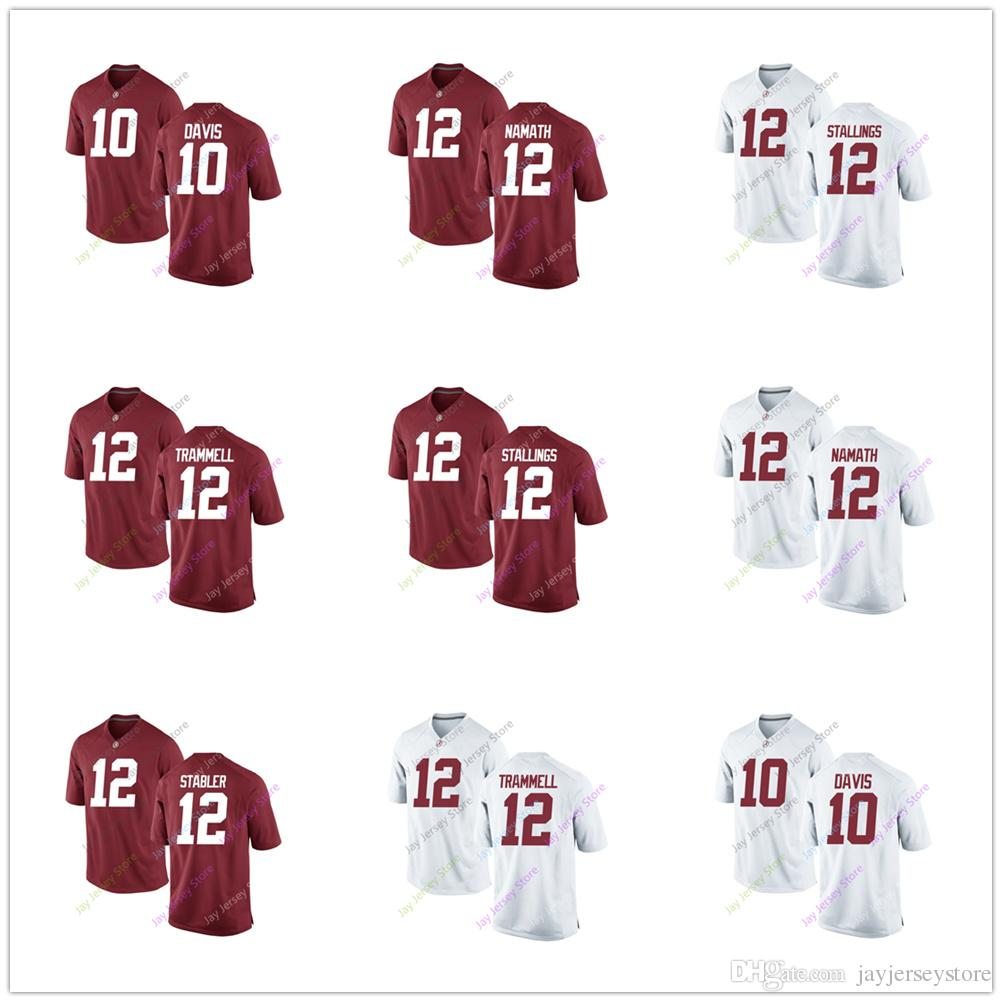 detailed look 257ff ebfce Football Alabama Crimson Tide College Jersey Ncaa 10 Terry Davis Gene  Stallings Pat Trammell Joe Namath 12 Ken Stabler