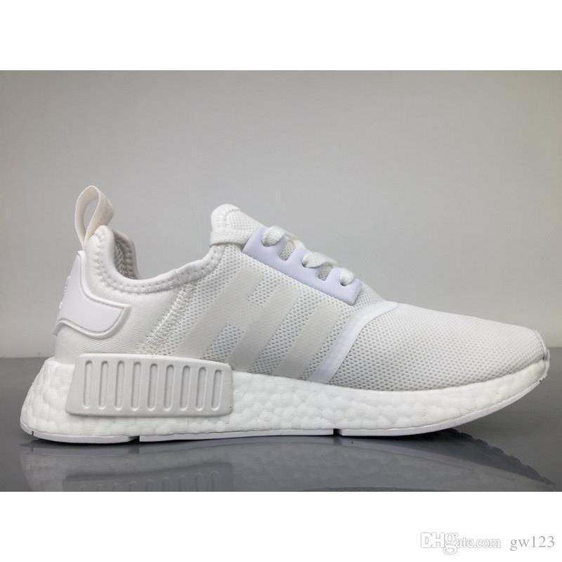 finest selection 7b3c3 b5418 NMD R1 Triple White BA7245 36-45 White fashionable men's and women's  running shoes Light comfortable breathable outdoor shoes