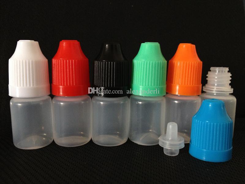 لينة PE زجاجات القطارة 3ML 5ML 10ML 15ML 20ML 30ML 50ML 60ML 100ML 120ML الزجاجات البلاستيكية مع نصائح سميكة القطارة E السائل