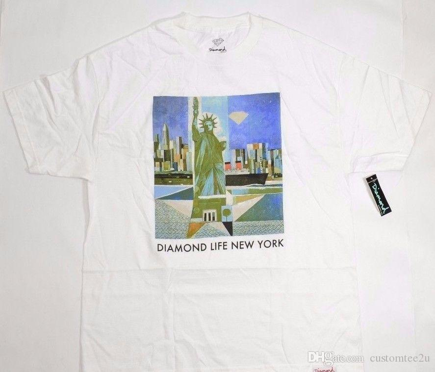 Diamond Supply Co.Diamond Life New York White Green Discounted Men S T Shirt  T Shirt Men Summer Custom Short Sleeve Valentine S Big Size Cou Funky  Tshirts T ... 6496d92f1