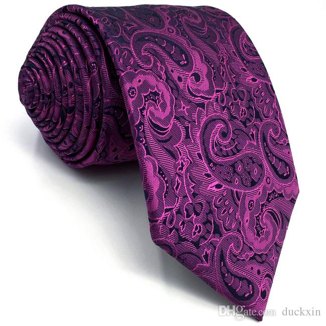 d9c562694b35 E15 Purple Paisley Mens Necktie Silk Fashion Wedding Ties For Male Classic  Dress Groom Extra Long Size Paisley Tie Cheap Bow Ties From Duckxin, ...
