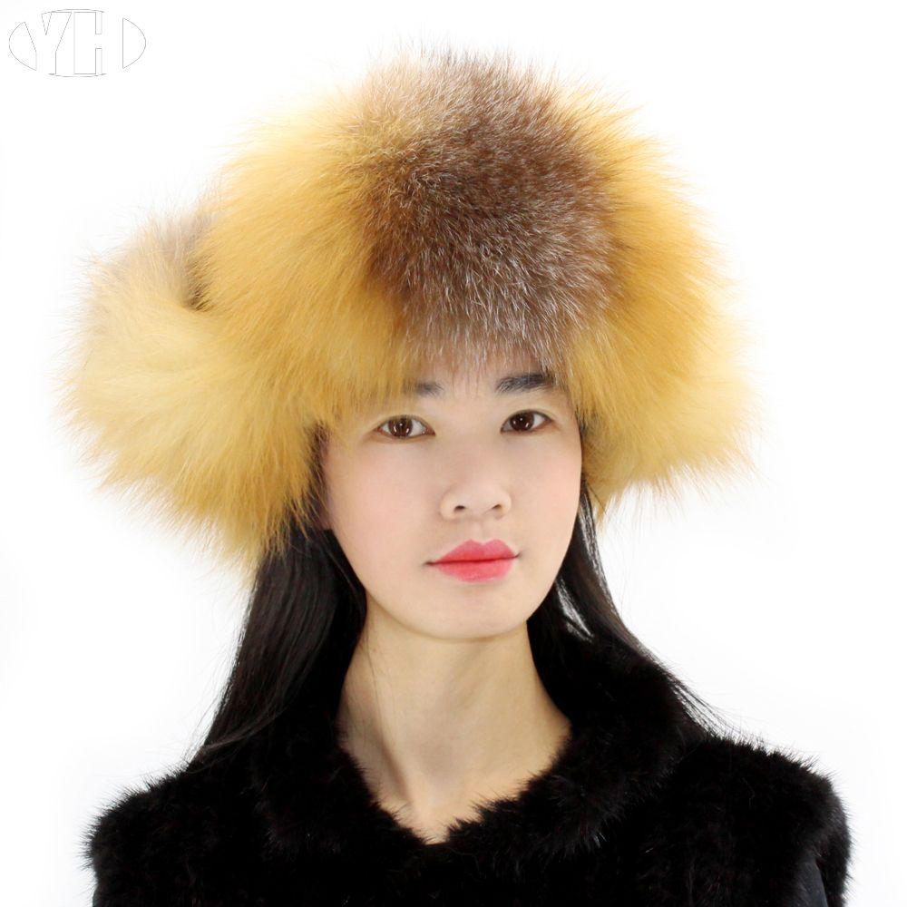 2019 Winter Women Real Fox Fur Bomber Hats Lady Real Fur Cap Ear Hat Warm  Heargear From Juemin 56528e5da5c