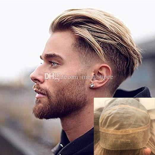 2019 Mono Base Pu Around Mens Toupee Free Style 9 10 Inch Blonde