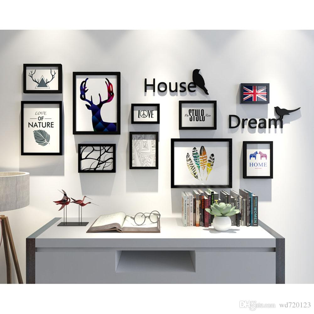 3D Decoration European Style Wooden Photo Frames Set Wall Photo ...