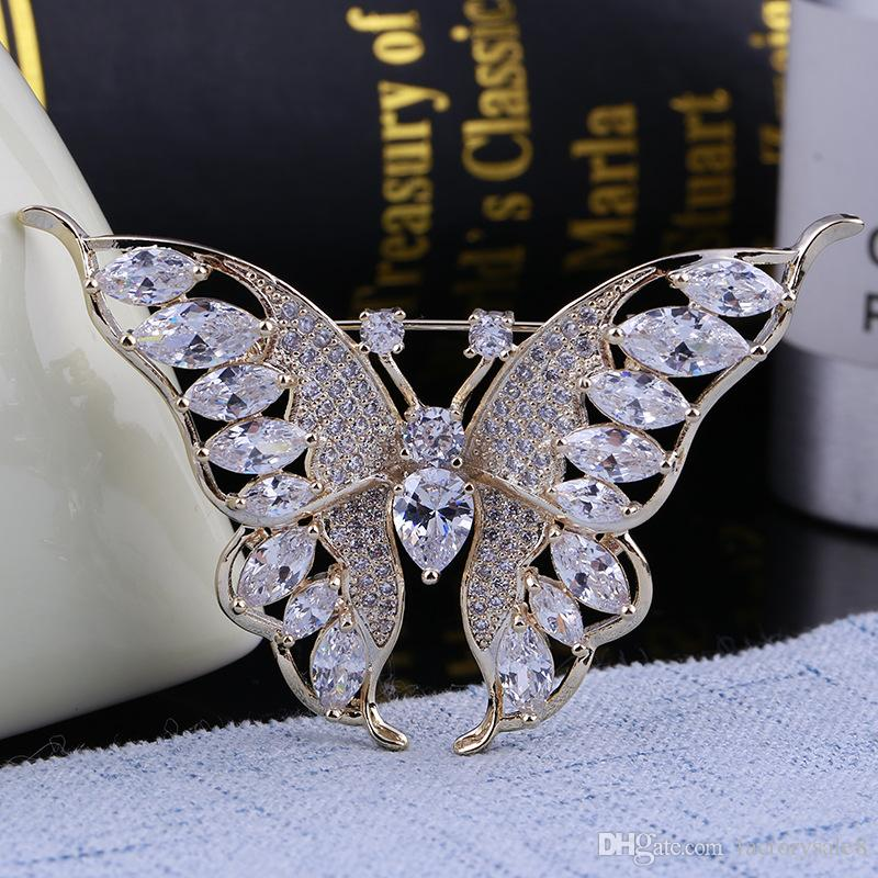 Top Grade Wedding Brooches Hot Sale Crystal Pearl Flower Butterfly Brooch Pins for Party Silver Jewelry Wholesale Free Ship
