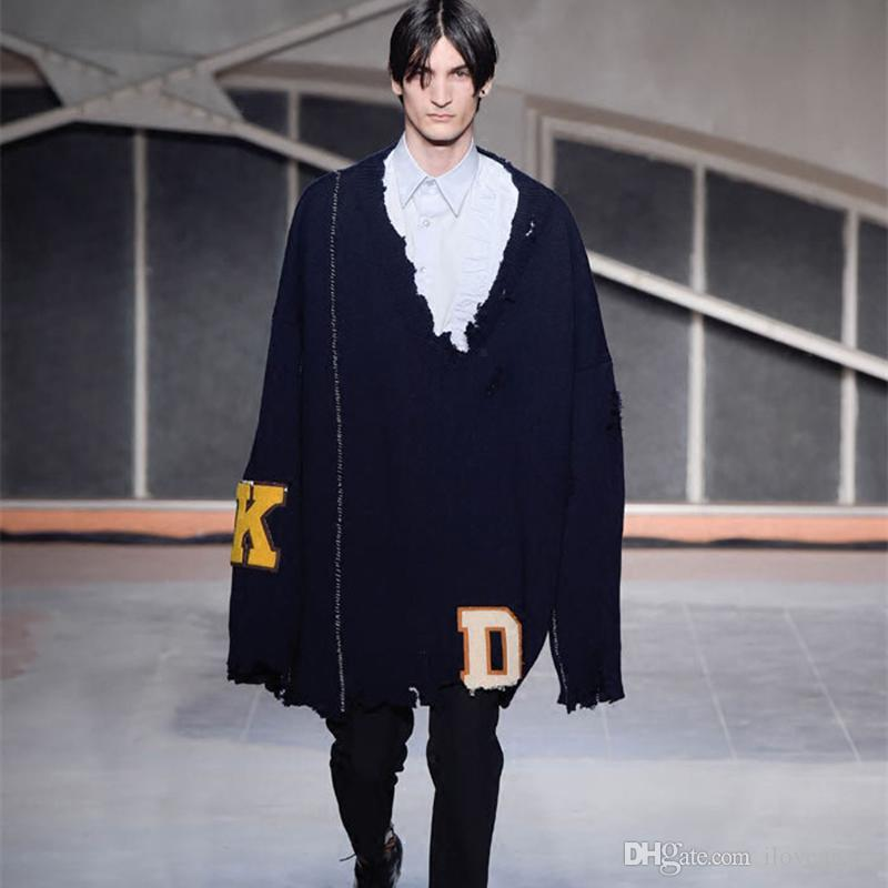 96b23387153f2e 2019 17FW Raf Simons Sweaters Hole Navy Pullover Letters Sweater Oversize  Fashion Men Women Couple Sweater HFLSMY006 From Iloveapple, $139.9 |  DHgate.Com