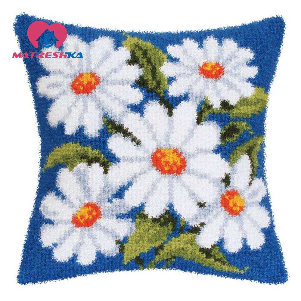 Latch Hook Embroidery Pillows Cushions Flower Knitting DIY Crochet Pillowcase Knooppakket Tapestry Canvas Cushion Kit Sofa Decor