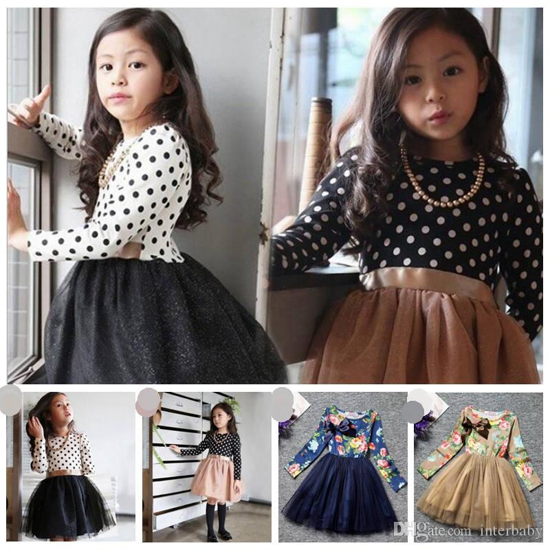 367e78b2ea2 2019 Girls Dresses Autumn Dot Gauze Baby Dresses Girls Bow Princess Dress  Toddler Korean Style Pettiskirt Kids Designer Clothes YL711 From Interbaby