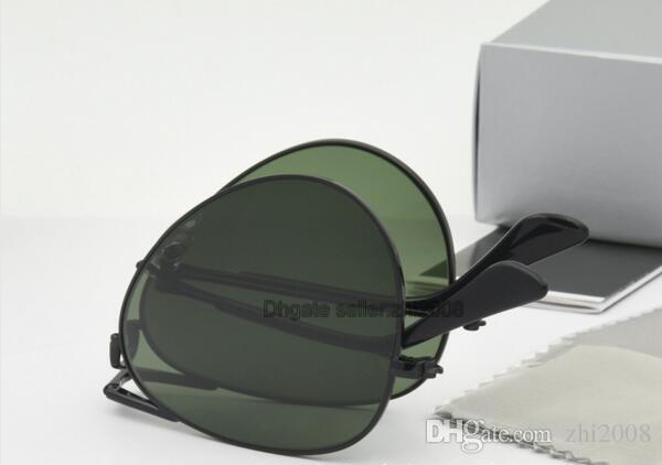 Brand Fashion Folding Poilt Sunglasses Women cassdall Alloy Gold Metal Frame Brown Len Sun Glasses 58mm with Black box