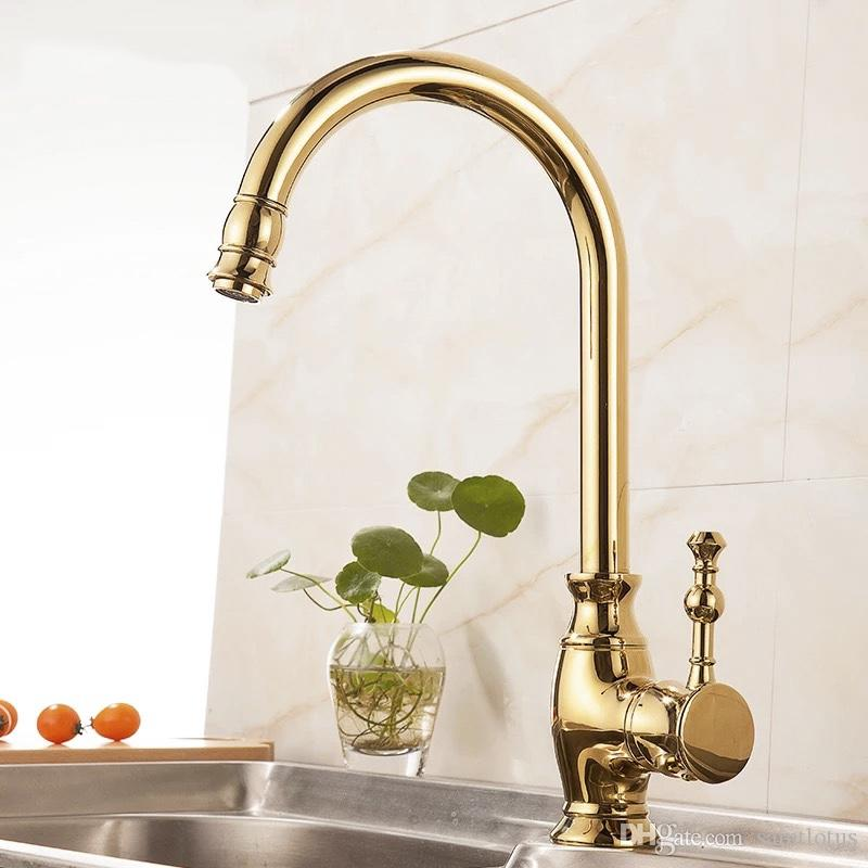 Kitchen Faucets European full brass Golden Hot and Cold Sink Tap Vegetables Basin Rotate Spout Drinking Water Faucet