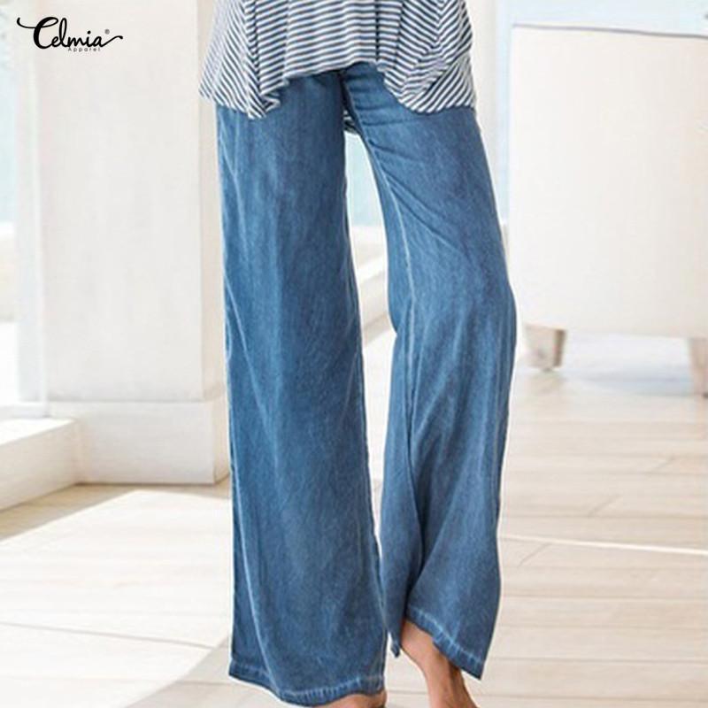9051b10740ca 2019 Celmia Women High Waist Pants Plus Size Long Trouser Female Casual  Pleated Denim Blue Wide Leg Pant Work Pantalon Palazzo Mujer Y1891905 From  ...