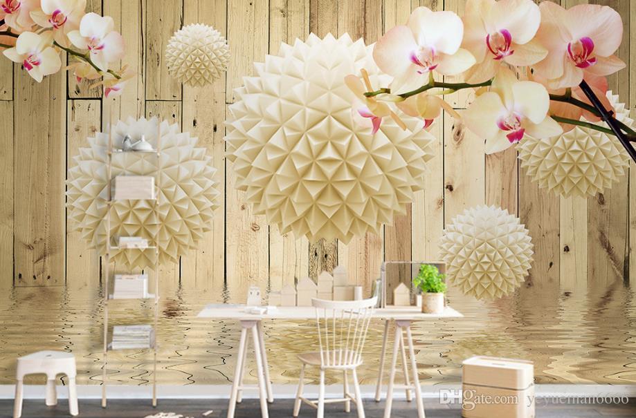 Tapete Orbicular hölzerne Orchidee 3d der Gewohnheit 3D  Tapete-Schlafzimmer-Küchen-Wand-wässerige moderne Fernsehhintergrund
