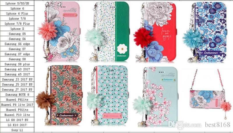 아이폰 12 미니 프로 11 XR XS 최대 x 8 7 6 플러스 5 갤럭시 S10 S9 패션 세련된 꽃 ID 카드 슬롯 플립 커버 홀더 파우치 소녀 레이디 스트랩