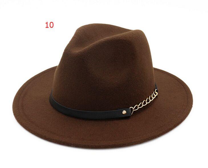 Erkekler kadınlar için moda ÜST şapkalar Zarif moda Katı keçe Fedora Şapka Band Geniş Düz Ağız Caz Şapkalar Şık Fötr Panama 5 adet Caps