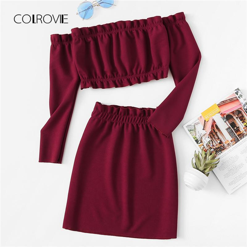 a2d1ef8db28ff 2019 COLROVIE Burgundy Off The Shoulder Frill Trim Knit Crop Top   Skirt  Sexy Women Set 2018 Autumn Two Piece Set Beach Clothing Sets From Saltblue