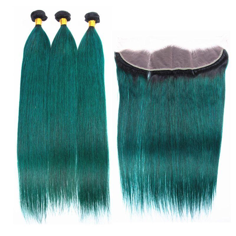 Ombre colore 1b trama di capelli verdi con pizzo frontale radici scure ombre capelli lisci 3 pacchi con orecchio all'orecchio frontale