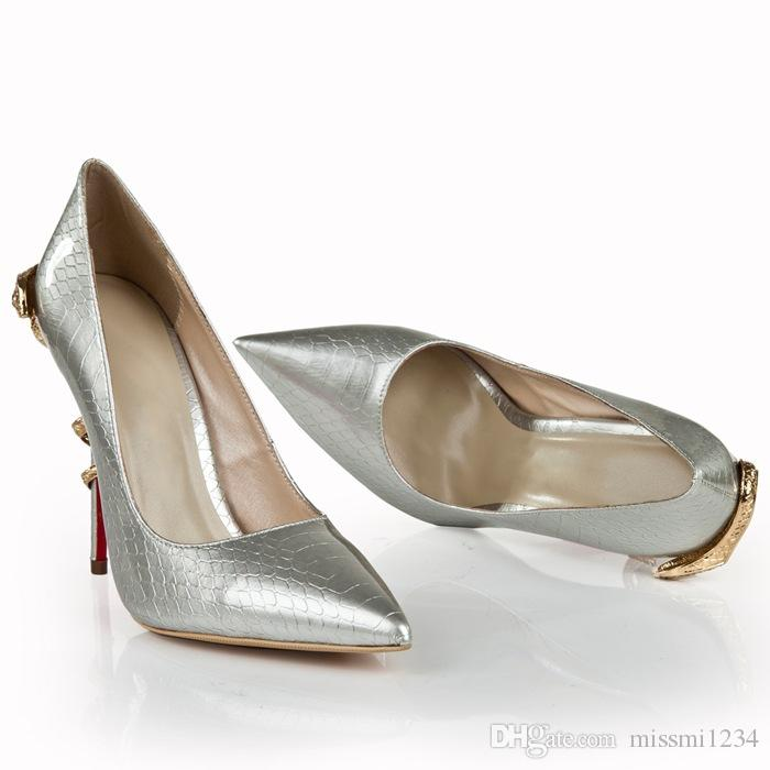 Silver pointed snakes shoes high heels for party 2019 Girls Women Pumps High Heeled Dress Shoes Crystal High Quality Professional women's