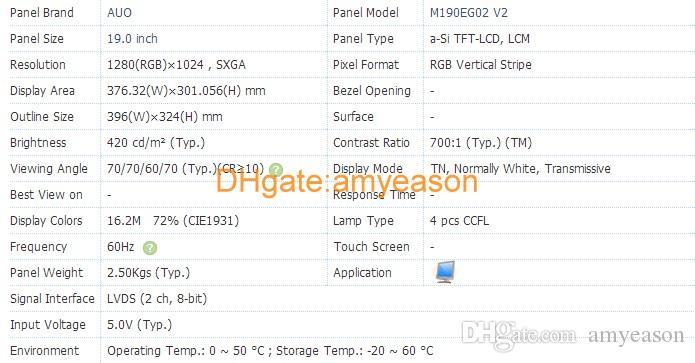 Original M190EG02 V2 19Inch Resolution1280*1024 Display Screen M190EG02 V2 Display LCD