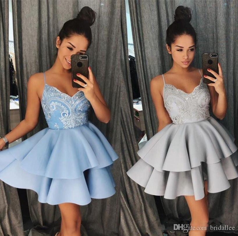 Neue Ankunft Navy Blau Satin A-linie Homecoming Kleider 2018 Graduation Kleider Perlen Halfter Hals Mini Kurze Mädchen Party Kleid Weddings & Events