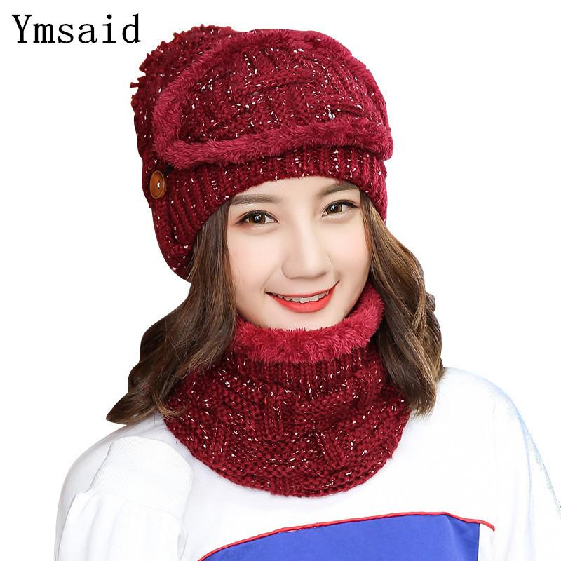e67a4e27a41 Ymsaid 2018 Ski Winter Caps Women Fashion Warm Knitted Scarf And Hats Set  Crochet Cap Beanies Female Cashmere Removable Wool Cap D18110102 Sun Hat  Hats For ...